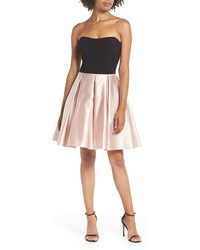 Blondie Nites Strapless Satin Skirt Fit Flare Dress