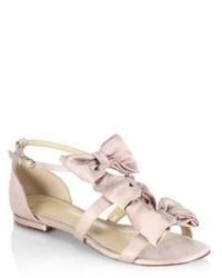 Alexandre Birman Cori Triple Bow Satin Flat Sandals