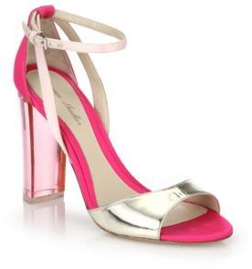 ... Pink Satin Heeled Sandals Monique Lhuillier Ava Lucite Heel Metallic  Leather Satin Sandals ...
