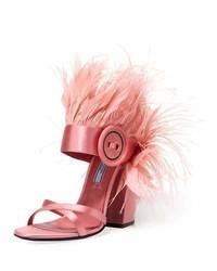 Prada Feather Embellished Satin Sandal