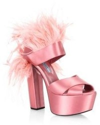 Prada Feather Trim Satin Platform Sandals