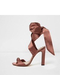 River Island Light Pink Satin Tie Up Sandals