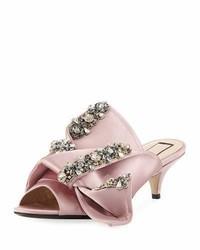 No 21 jeweled satin low heel mule sandal rosa medium 3697603