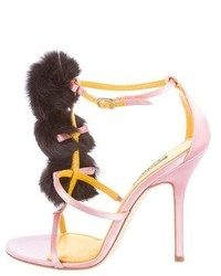 Dolce & Gabbana Rabbit Fur Trimmed Satin Sandals