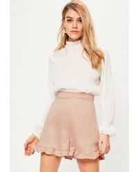 Missguided Pink Satin Back Crepe Frill Hem Shorts