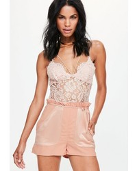 Missguided Pink Satin Pocket Paperbag Waist Shorts