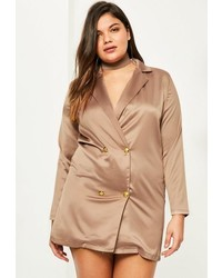 Plus size nude satin choker neck tuxedo dress medium 3646904