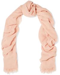 Brunello Cucinelli Fringed Cashmere Gauze Scarf Pink