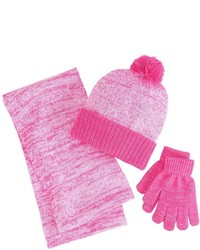Berkshire Girls 4 16 3 Pc Marled Infinity Scarf Hat Gloves Set