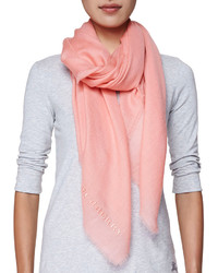 Burberry Logo Embroidered Cashmere Scarf Coral Pink