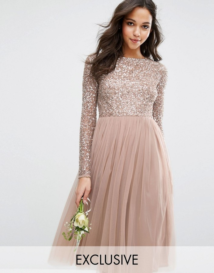 Maya Maya Long Sleeved Midi Dress with Delicate Sequin and Tulle ...
