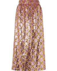 Pink Sequin Midi Skirt