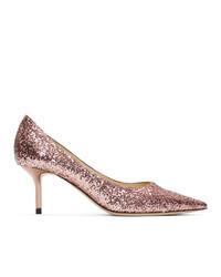 Jimmy Choo Pink Glitter Love 65 Heels