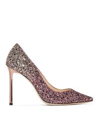 Jimmy Choo Pink Glitter Romy 100 Heels
