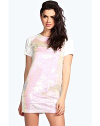 Pink Sequin Shift Dress