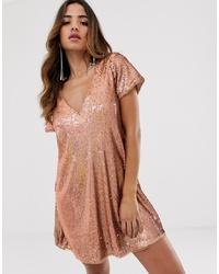 TFNC Sequin Shift Dress In Gold