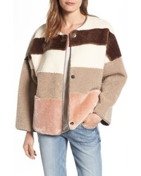 Eliza J Faux Shearling Faux Fur Colorblock Jacket
