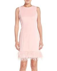 Maia feather accent techno sheath dress medium 458115