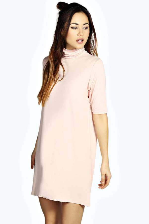 e70bef393d11 Boohoo Debi Turtle Neck T Shirt Dress, $16 | BooHoo | Lookastic.com