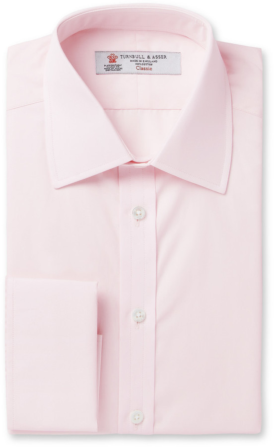 Turnbull & Asser Pink Double Cuff Cotton Shirt | Where to buy ...
