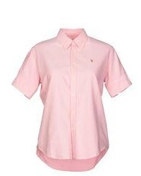Pink Short Sleeve Button Down Shirts for Women  5218e2c99