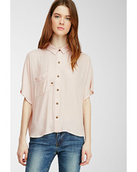 Forever 21 Contemporary Boxy Chiffon Pocket Blouse