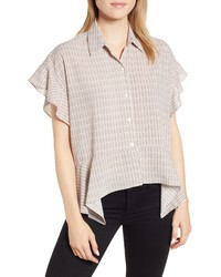 1 STATE Mini Houndstooth Highlow Blouse