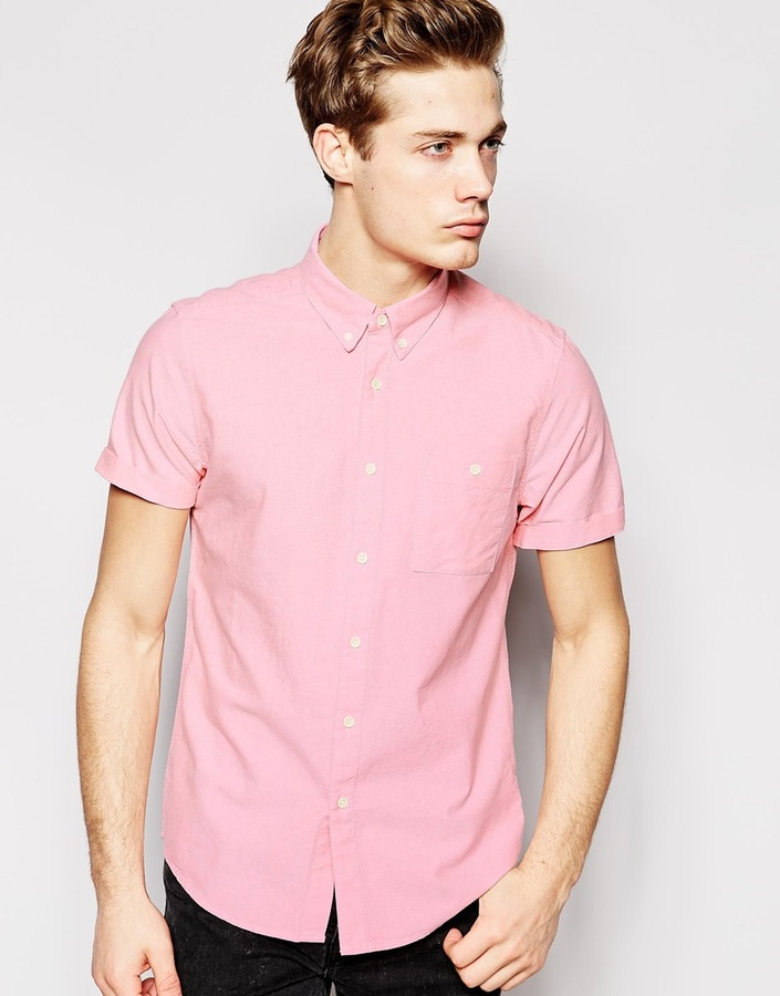 Asos Brand Oxford Shirt In Light Pink With Short Sleeves | Where ...