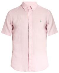 Polo Ralph Lauren Button Down Collar Short Sleeved Linen Shirt
