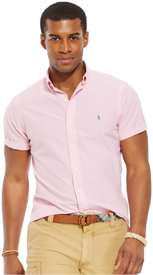 ... Pink Short Sleeve Shirts Polo Ralph Lauren Check Seersucker Shirt ... 804c38575e72
