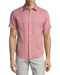 Theory Clark Instrutal Linen Short Sleeve Shirt