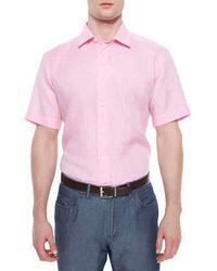 Brioni Short Sleeve Linen Shirt Pink