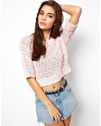 Asos Cropped Sweater With Short Sleeve