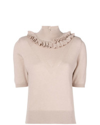 Barrie Flying Lace Cashmere Turtleneck Top