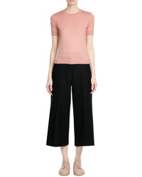 RED Valentino Short Sleeve Cashmere Silk Pullover With Lace Cutout