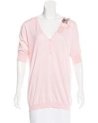 Brunello Cucinelli V Neck Short Sleeve Sweater
