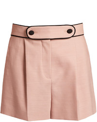 Valentino High Waist Tailored Stretch Wool Shorts