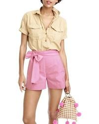 J crew cotton poplin tie waist shorts medium 3722798