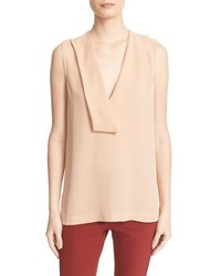 Theory Salvatill Draped V Neck Silk Top
