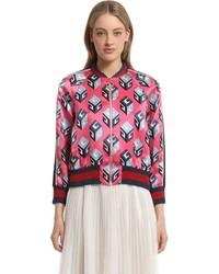 Gucci Gg Wallpaper Silk Duchesse Bomber Jacket