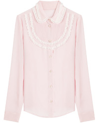 Red valentino silk blouse with lace trim medium 449376