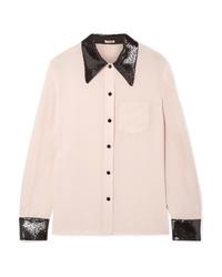 Miu Miu Sequined Silk De Chine Shirt