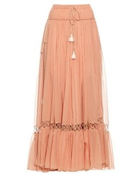 Chlo silk crepon drawstring maxi skirt medium 727066
