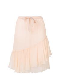 Pink Silk Midi Skirt