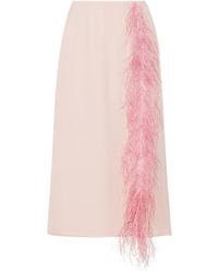 Prada Med Silk Tte Midi Skirt