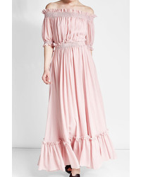 Alexander McQueen Off Shoulder Dress In Cotton And Silk