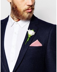 Asos Wedding Pocket Square In Silk Pink