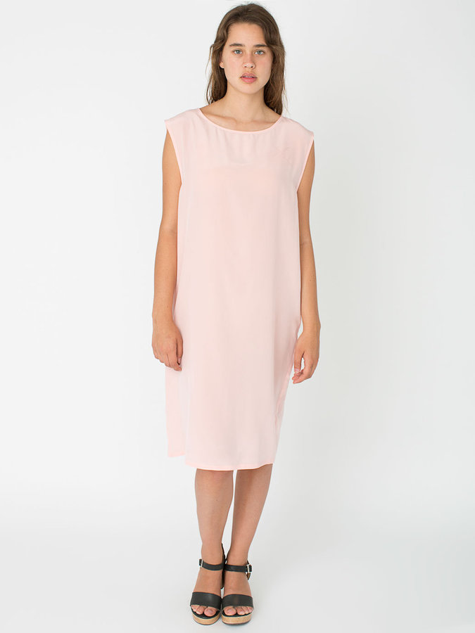 American Apparel Washed Silk Mid Length Shift Dress | Where to buy ...