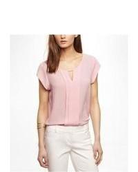 Express Short Sleeve Pleated Keyhole Blouse Pink Large