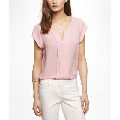 Express Short Sleeve Pleated Keyhole Blouse Pink Large | Where to ...